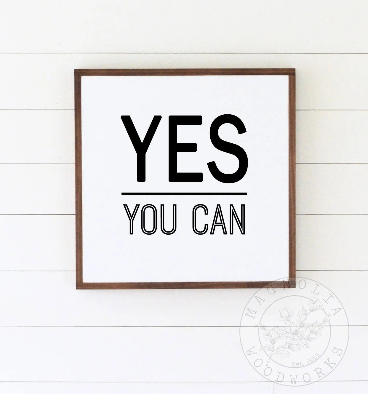 Sign For Bathroom Yes You Can Framed Farmhouse Wood Sign Bathroom Sign Framed Wooden Sign Farmhouse Bathroom Sign Motivation Wood Sign Positive Sign