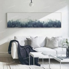 Large Pictures For Living Room Wall Interior Design Uk Art Etsy Foggy Forest Extra Canvas Painting Misty Print Landscape Decor