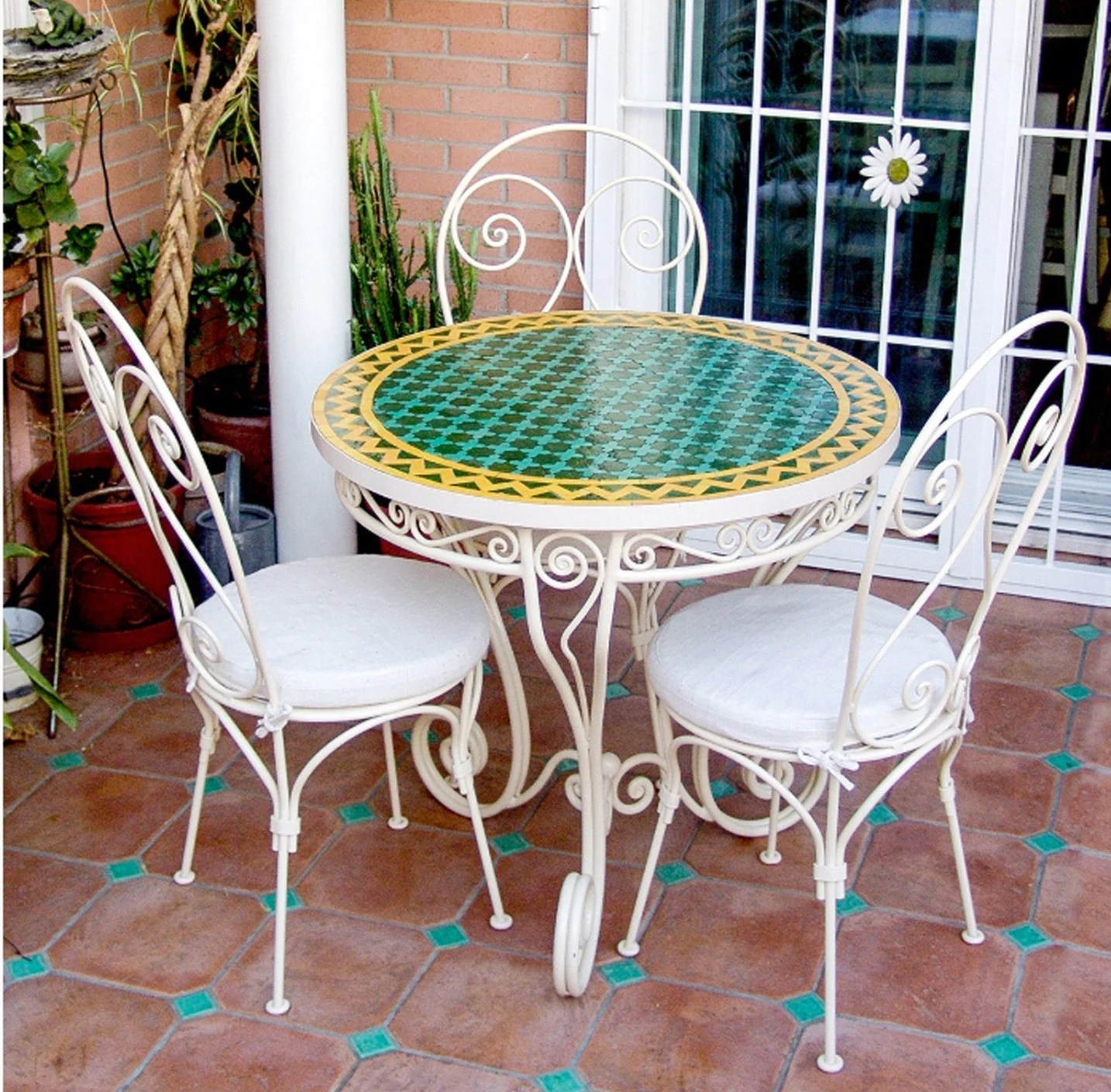 Outdoor Table And Chair Set Garden Table Chairs Wrought Iron Garden Set Mosaic Table Moroccan 3 Chairs Wrought Iron Outdoor Quality