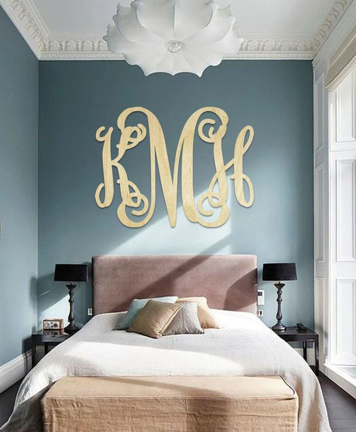 monogram wall art etsy