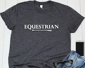 Equestrian Shirt with Horseback Riding Crop, Gift for Horse Lover