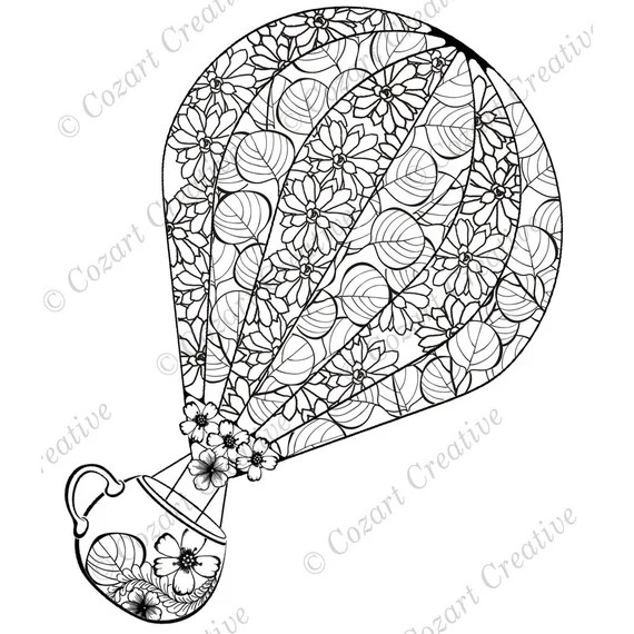 Hot Air Balloon Coloring Page Enjoy The Ride With A Flower Etsy