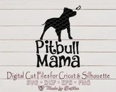 Pitbull Mama silhouette svg, Pit bull MOM, Dog Lover SVG, Pitbull Svg, Dog Mom, Pet Mom, Pitbull Mom svg, Mother's Day, Digital download  Mom il 170x135