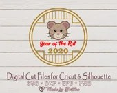 Year of the Rat, Chinese New Year, Boy Rat, Gold, 2020, 新年快乐, New Year SVG, Cute Boy Rat, SVG File for Crafters  Holidays and Winter il 170x135