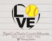 Softball SVG, I love Softball, Softball gift, Softball Shirt design, Digital file for Cricut and Silhouette  Sports il 170x135