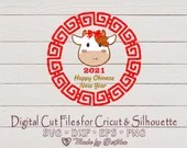 Cute Girl Ox SVG | Chinese New Year 2021 | 3 design bundle | Year of the Ox | Lunar New Year | Digital design | 新年快乐 Gong Xi Fa Cai | Zodiac  Holidays and Winter il 170x135