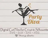 New Year, Party Diva, Party Girl, Bridal Party Champagne Party, Bachelorette party, Digital SVG File for Cricut or Silhouette, DXF, PNG, Eps  Holidays and Winter il 170x135