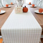 Orange And White Buffalo Plaid Fall Farmhouse Table Runner Kitchen Dining Home Kitchen