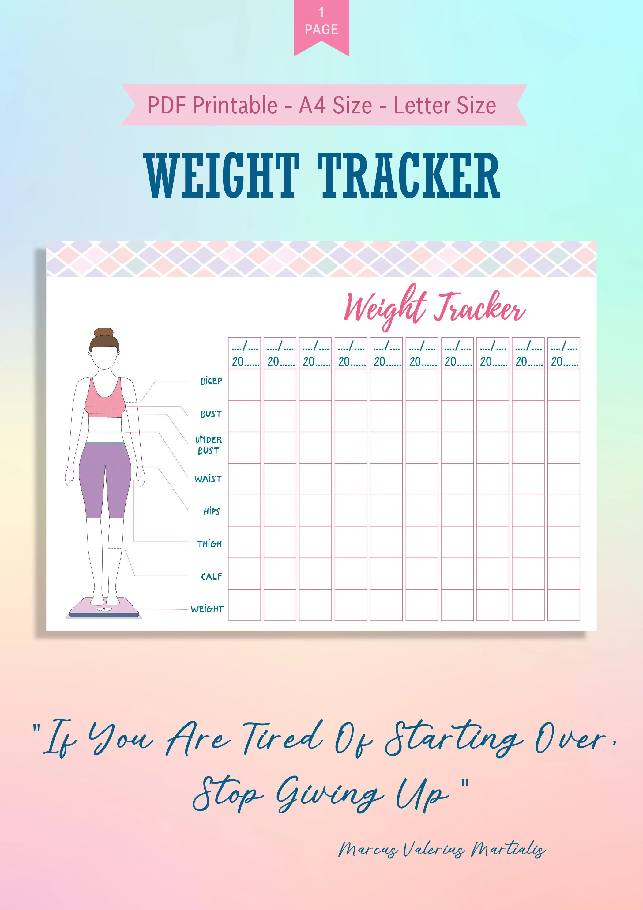 Weight Loss Tracker Printable Weight Loss Body Measurement