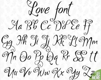 Download Love font svg Font with hearts Hearts cursive font Heart ...
