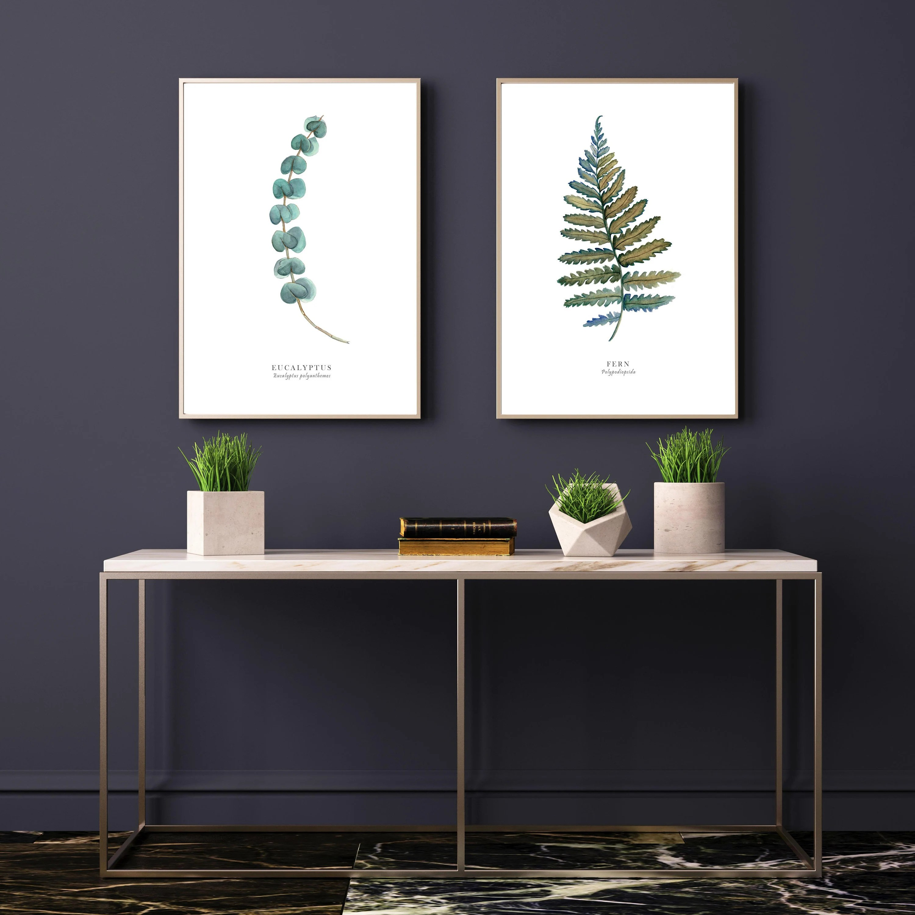 art in living room decorating ideas with black leather furniture etsy set of 2 watercolour paintings eucalyptus fern leaf botanical wall home decor