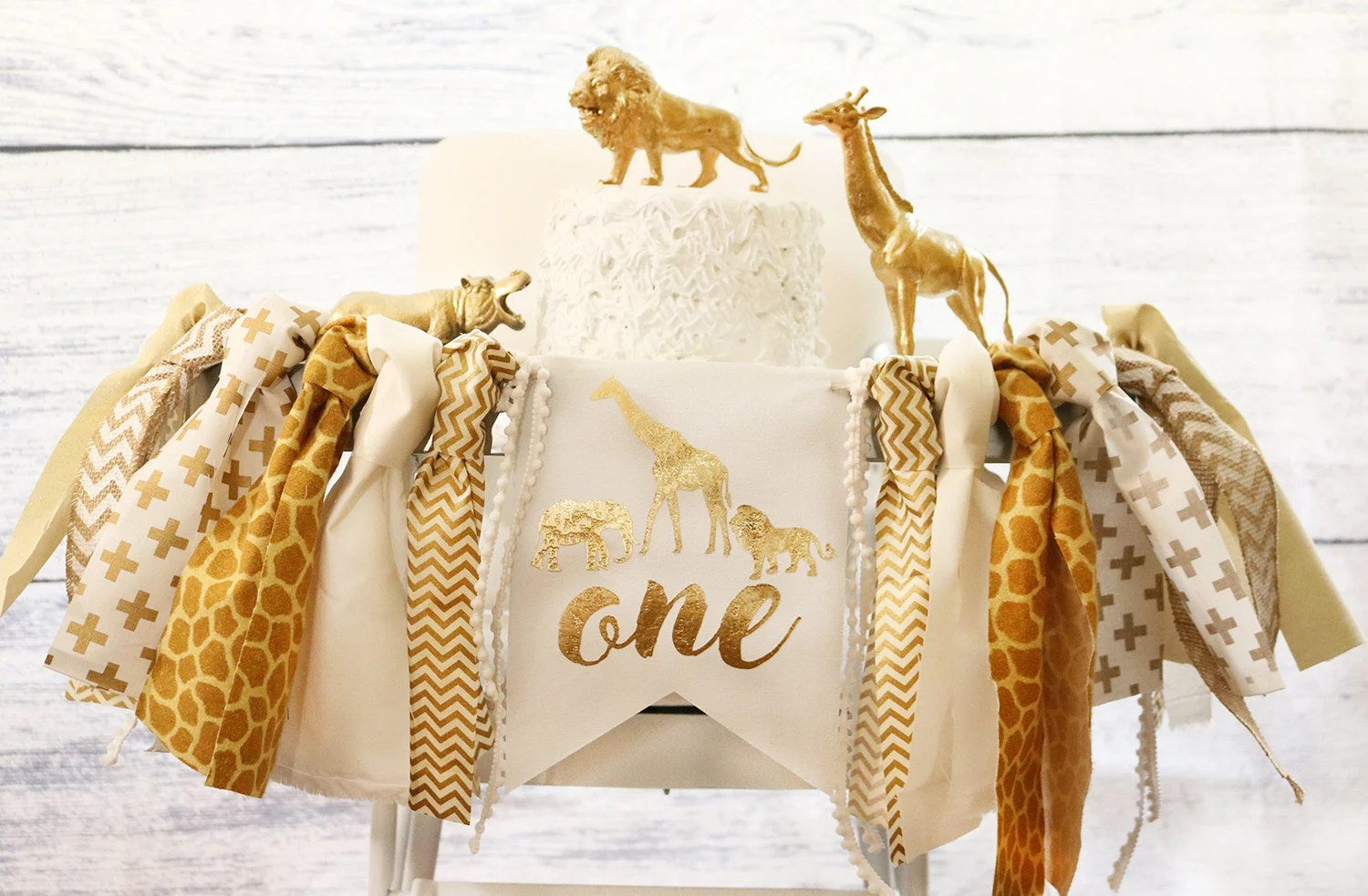 safari high chair white bohemian hanging new jungle luxe edition banner gold etsy image 0