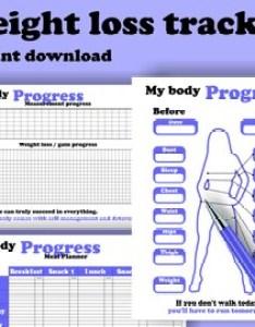 Printable weight loss tracker progress chart bullet journal planner insert   letter instant download editable pdf also etsy rh
