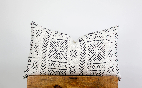 Mudcloth  Linen Lumbar Pillow Cover for 16x26 insert  Etsy