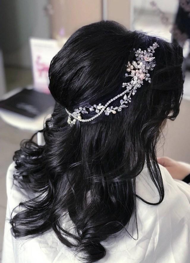 wedding head piece for bride pearl hair jewelry bridal halo headpiece wedding hair band hair piece crystal forehead jewelry pearl headband
