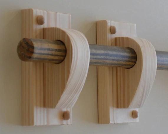 curtain rod holders wooden curtain pole brackets curtain hangers x 2