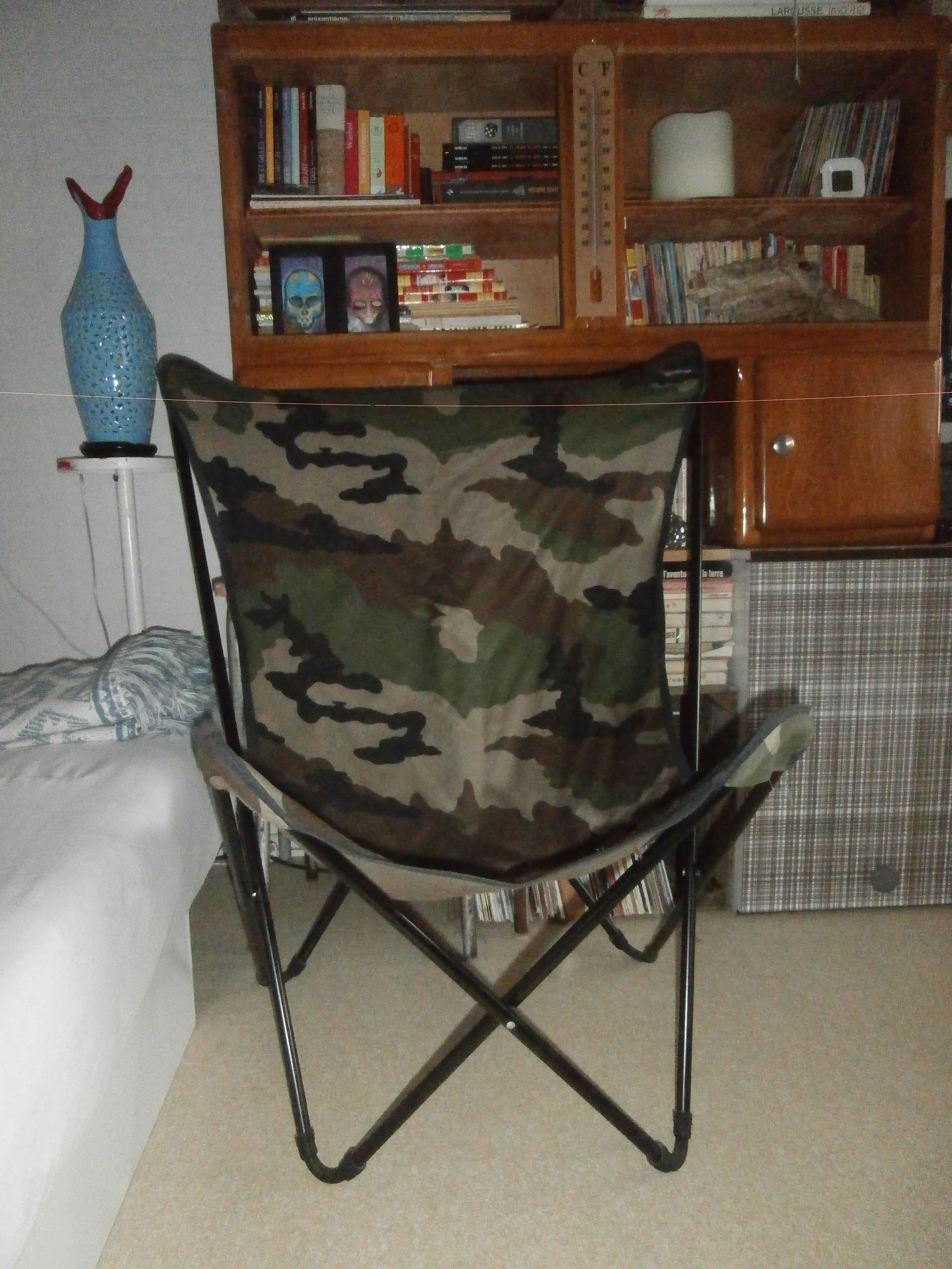 lafuma pop up chair dining booster seat for 3 year old jc castelbajac canvas camouflage vintage etsy image 0