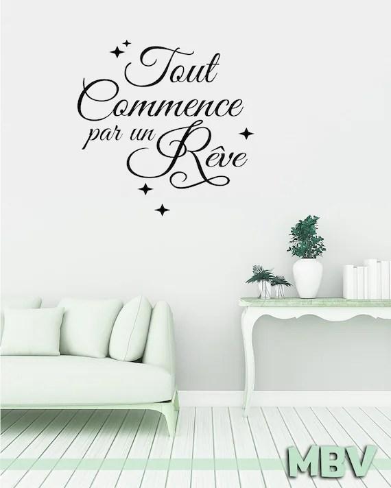 """Sticker """"Tout Commence par un Rêve"""" Noir - 55 x 110 cm"""