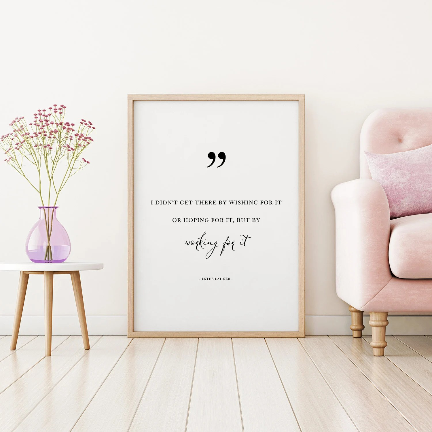 wishing chair photo frame slipcovers canada work for it wall art feminism print quote etsy image 0