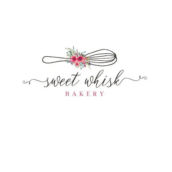 Bakery Whisk Logo Design Watercolor Floral Baking Logo