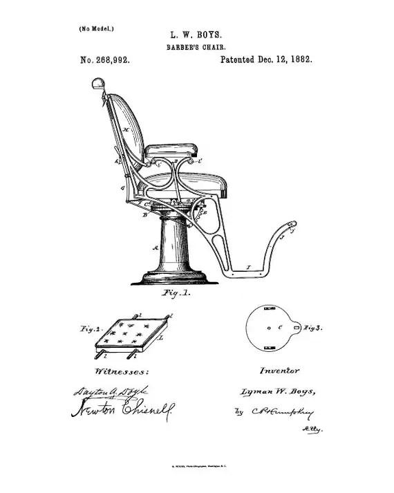 chair design patent zebra high instant download barber print etsy image 0