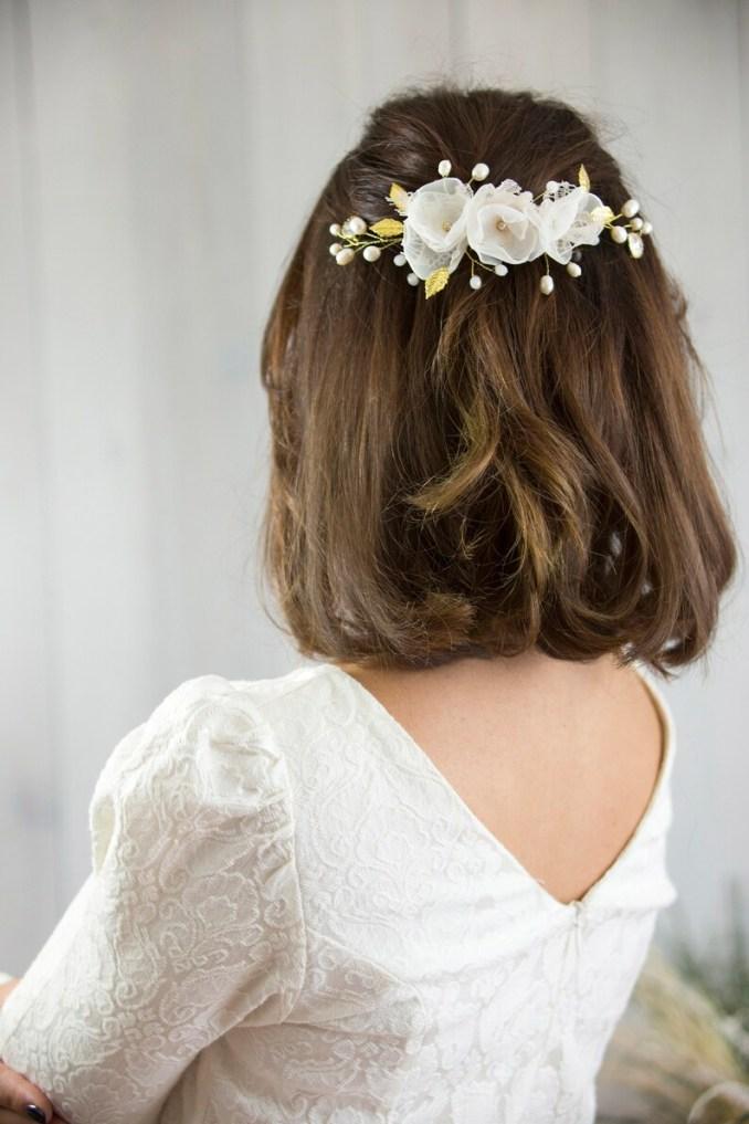 wedding hair accessories pearl and flower hair comb bridal gold headpiece flower crown wedding hair piece gold leaf hair vine boho wedding