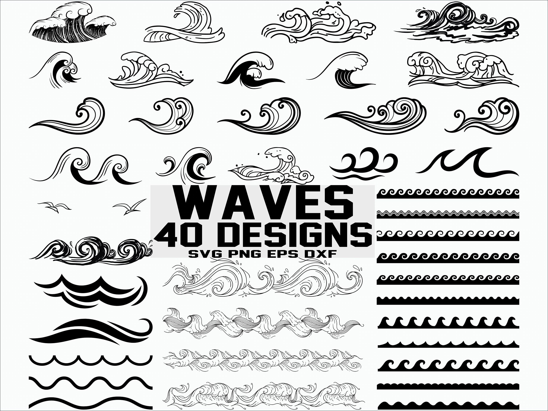 Wave Svg Sea Waves Svg Ocean Waves Svg Clipart Cut