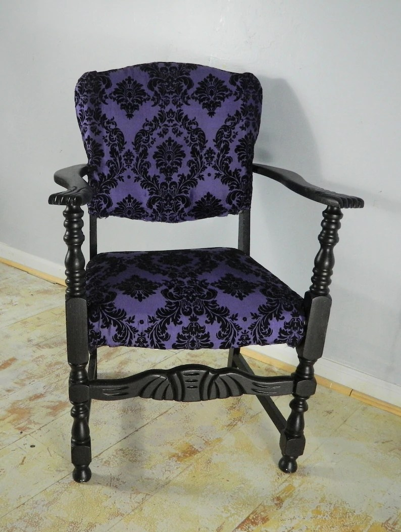 Damask Chair Black Gothic Chair Royal Purple And Black Flocked Damask