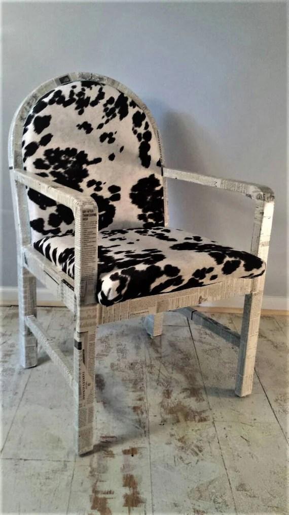 black and white cowhide chair table high decoupaged farmer s almanac etsy image 0