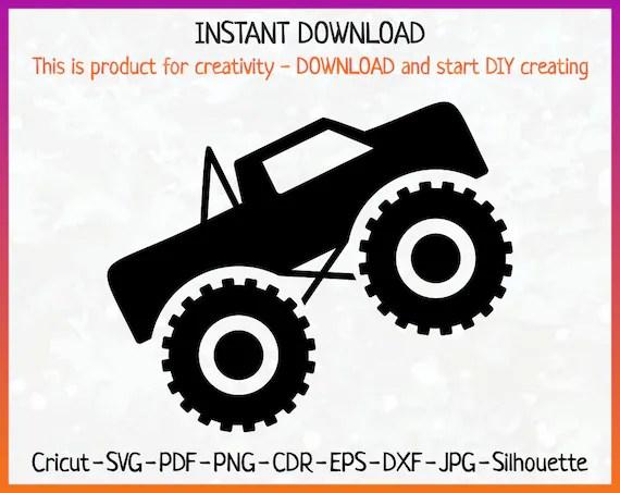 Download Monster Truck SVG File Monster Truck Silhouette dxf pdf | Etsy