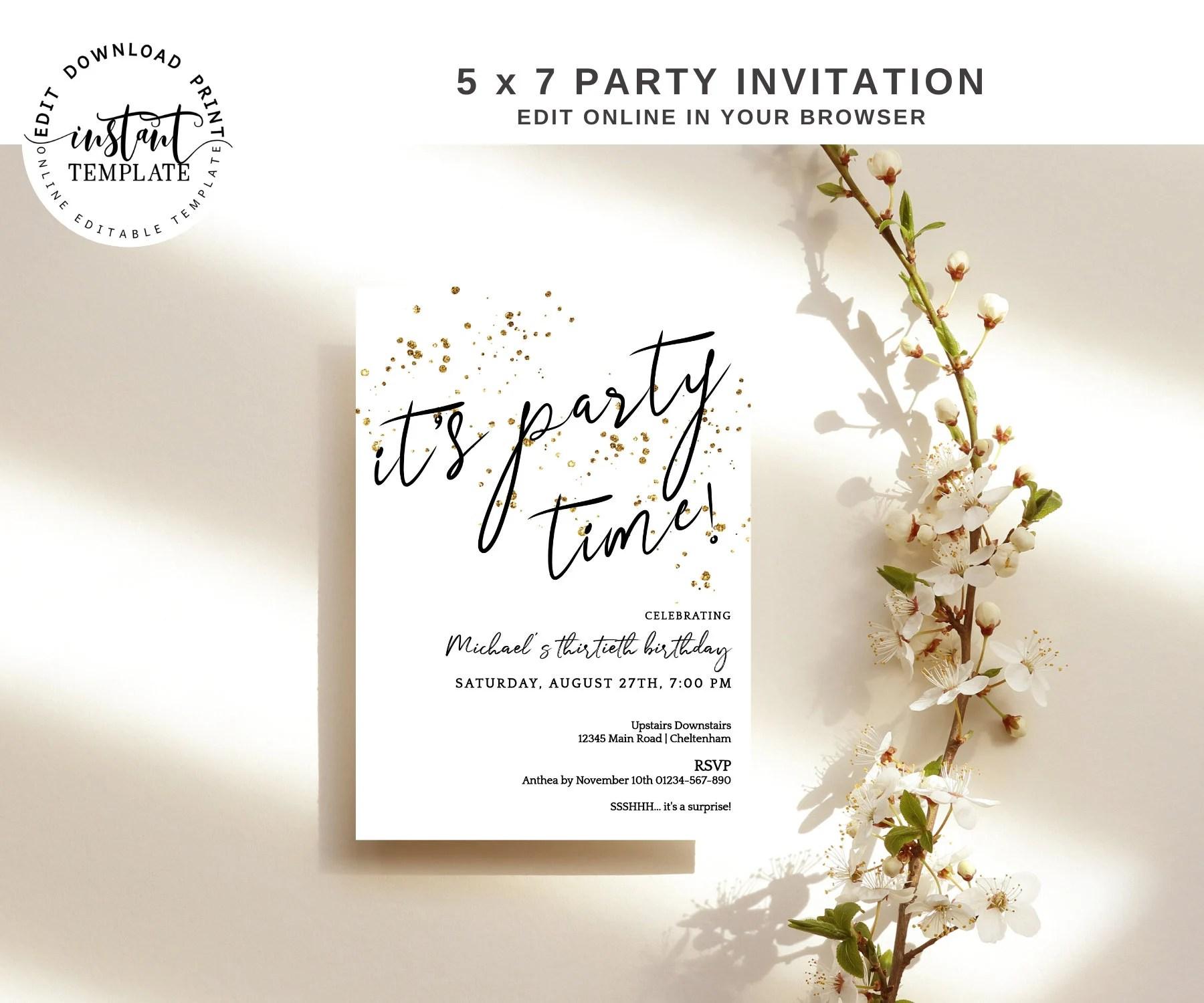 elegant birthday invitations etsy