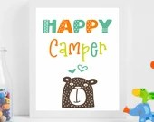 Happy Camper nursery digital art print, available for instant download