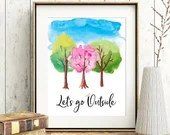 Let's go Outside watercolour digital art print, available for instant download