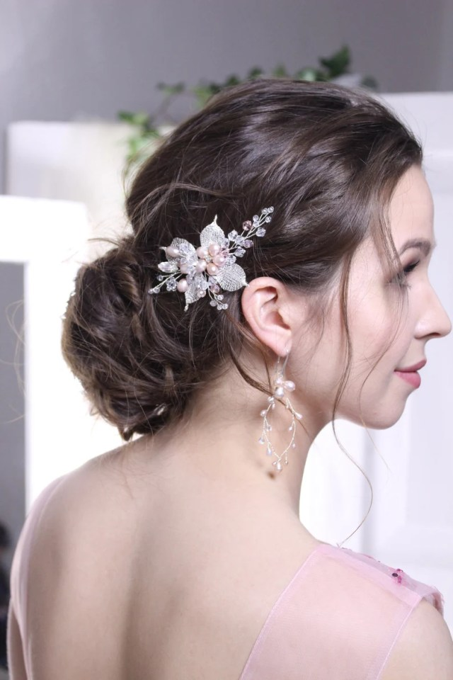 wedding hair comb , comb with natural pearls , wedding hair accessory bridal , bridal hair accessories , one cristal swarovski , easter gift