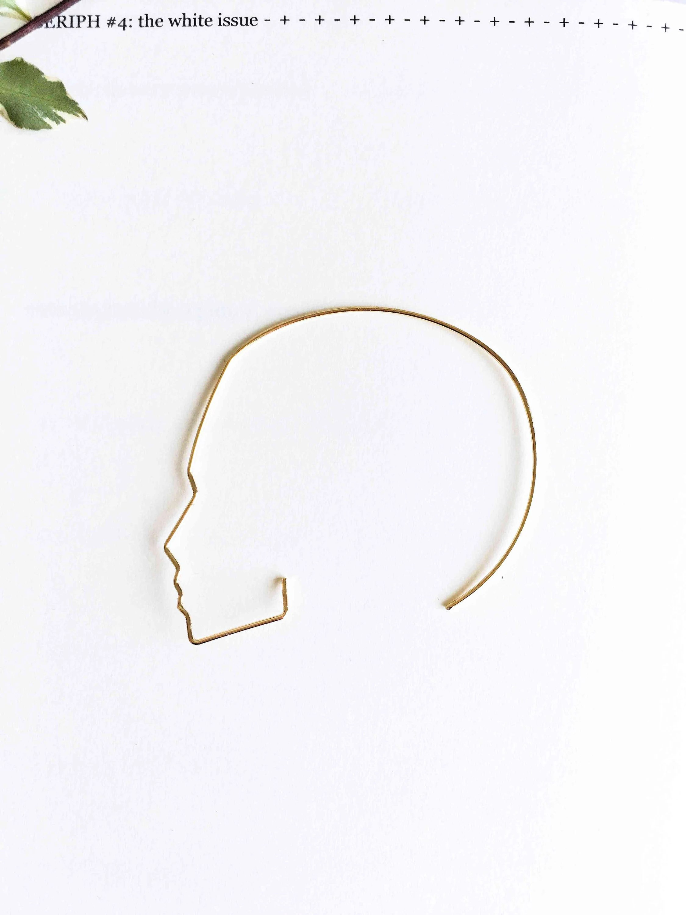 Side profile face ear wires face earrings minimal picasso