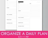 Today's Plan, Planner Insert, Instant Printable, Instant Download