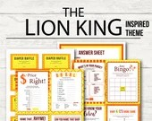 Lion King Inspired Baby Shower Games, Diaper Raffle, 8 Games + Answer Sheet