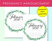 Pregnancy Announcement, Feb 2020, Flower Wreath, Instant Printable, Digital File