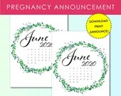 Pregnancy Announcement, June 2020, Flower Wreath, Instant Printable, Digital File