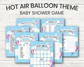 Hot Air Balloon Baby Shower Games, 6 Games + Answer Sheet