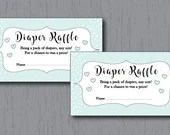 Diaper Raffle Tickets, Blue, Baby Boy, Fancy and Elegant, Instant Download, Printable