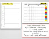 School Bundle for Children, 3 Sheets, School Information, Appointments, Rewards, Instant Printable, Digital File