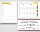 School Bundle for Children, 3 Sheets, School Information, Appointments, Rewards, Instant Printable, Digital File