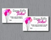 Diaper Raffle Tickets, Baby Girl, Pink Balloons, Instant Download, Printable