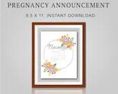 Pregnancy Announcement, November 2021, Flower Wreath, Instant Printable, Digital File