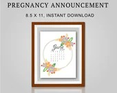 Pregnancy Announcement, June 2021, Flower Wreath, Instant Printable, Digital File
