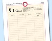 Timing My Contractions, Pregnancy, Instant Printable, Unlimited Prints, Digital File
