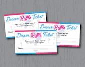 Diaper Raffle Tickets, Gender Reveal, Pink Blue, Instant Download, Printable