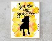 Sunshine Printable Art, Instant Download, Pet Art, Labrador, Dogs   Front Seat Ryder