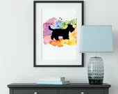 Dog Wall Art, Instant Download, Pet Parents, Dog painting, Watercolor Scottie Dog, Scottish Terrier   Front Seat Ryder